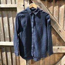 Jigsaw Navy Linen Dip Hem Shirt Size XS / UK 8 VGC