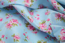 """Pink Flowers on Blue 100% cotton fabric sold by the meter 63""""width 1610011"""