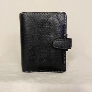 FILOFAX Mini CHAMELEON Organizer RARE Black LIZARD PRINT Leather & Prive Wallet