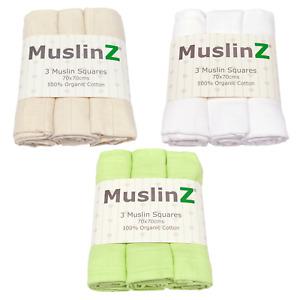 MuslinZ 3PK Baby Muslin Squares 70 x 70 cm 100% Organic Cotton