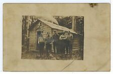 New Hampshire Sugar Shack? Hunting Lodge? Men RPPC Antique Photo Star 1910s
