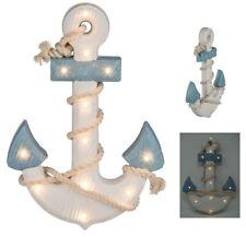 maritime Deko Shabby Holz Anker mit Seil LED Beleuchtung Meer Strand Baddeko