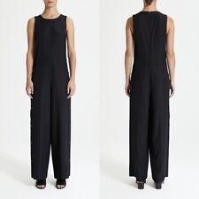 Theory Side Button Jumpsuit 10 Wool Twill Drape Black NWT $455