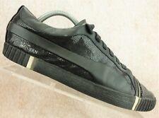 Alexander McQueen Puma Black Leather Casual Walking Sneaker Shoes Men's Size 8