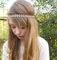 Women Girl Ethic BOHO Crochet Heart Crystal Elastic Hair head band Headband