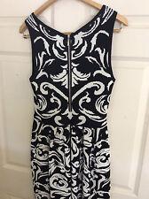 Saks Fifth Avenue RED Black/White Floral Knitt Sleeveless Dress medium