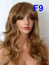 Medium Light Brown Blonde Fashion real natural Adult costume Women Ladies wig F9