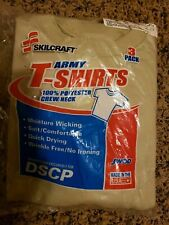 USGI Skilcraft Pack of 3 Tan Beige Polyester Army T-shirts DSCP Size  L USA MADE