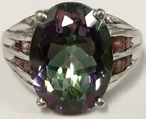 LARGE~ 12.25 carat Mystic Rainbow topaz & Ruby ring size 7 Sterling Silver 925