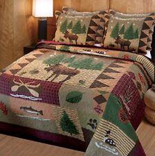 Queen Quilt Set Comforter Rustic Home Moose Bear Log Cabin Lodge Cotton