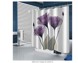 Muuyi Tulip Shower Curtain Set with Hooks - White Shower Curtains for Bathroom