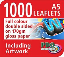 1000 A5 FULL COLOUR DOUBLE SIDED LEAFLETS ON 170GM - FREE ARTWORK