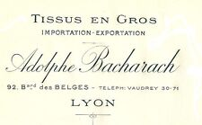 ancienne facture 1920 vierge Adolphe Bacharach Tissus en Gros LYON