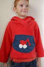 Boys Soft Polar Fleece  Red Hoodies With Digger Navy Motif Age Range 1 - 6 Years
