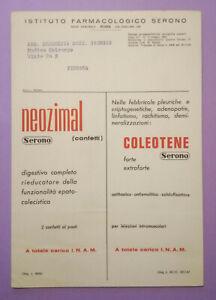 Pubblicita'Advertising Stampa Farmaceutica Vintage Originale NEOZIMAL COLEOTENE