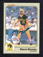 1983 FLEER #314 Steve Nicosia  PITTSBURGH PIRATES  SIGNED AUTOGRAPH AUTO COA