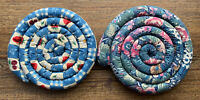 Lot Of Two Vintage Coiled Fabric Hot Pad Trivets Preowned Scented