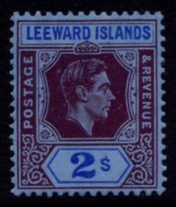 Leeward Islands SG 111 Cat £35 2 Shillings Reddish Purple & Blue on Blue Mounted