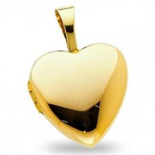Plain Heart Locket Pendant Solid 14k Yellow Gold Love Charm Holds Pictures Small