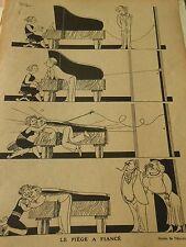 La Pianiste Le Piège à fiancé Humour Print 1931