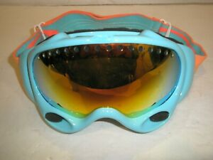 OAKLEY A FRAME LIGHT BLUE  FIRE IRIDIUM  LENS SKI SNOWBOARD GOGGLES