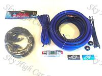 Oversized 4 Ga OFC AWG Amp Kit Twisted RCA BLUE Black Complete Sky High Car