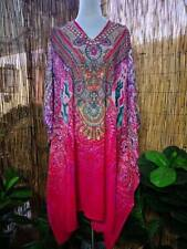 Loose Fitting Sheer Embellished Kaftan Digital Print Size 16-18-20-22-24-26