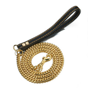 """51"""" Leather Handle Stainless Steel Gold Miami Chain Dogs Walking Training Leash"""