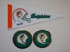2 MIAMI DOLPHINS 1970 &1973 NFL FOOTBALL HELMET MEDALLIONS & PENNANT vintage