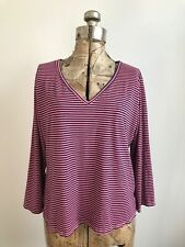 Cut Loose Striped 3/4 Sleeve V Neck Pink & Black Tee Size S