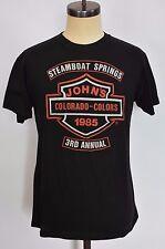 RARE Vintage 1985 3D Emblem Harley Davidson John's Steamboat Colors Run XL