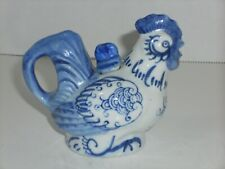 Mini Rooster Teapot blue white