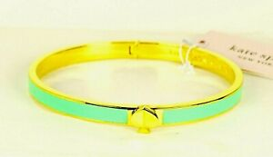 KATE SPADE Gold Plated Light Green Enamel Hinged Bangle Bracelet