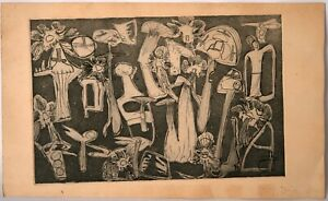 Vintage Etching from 1960-70s: Mushrooms & Feminism