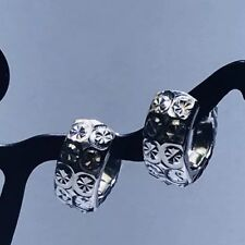 18k Solid White Gold Diamond Cut Hoop Earrings