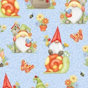 HENRY GLASS GNOME IS WHERE YOUR GARDEN GROWS ALL OVER GNOMES 100% COTTON