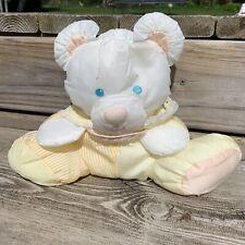 Vintage Fisher Price Puffalump Baby Bear Cub Rattle Plush Yellow White 10 in