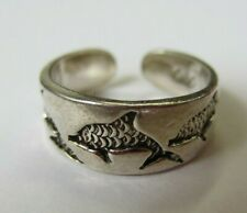 Ring Dolphin Design Oxidized Jewelry Solid 925 Sterling Silver Adjustable Toe