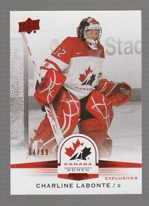 (55198) 2014-15 UPPER DECK TEAM CANADA JUNIORS RED CHARLINE LABONTE #141 (84/99)