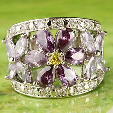 Flower Women's Amethyst & Tourmaline & Citrine Gemstone Silver Ring US Size 10