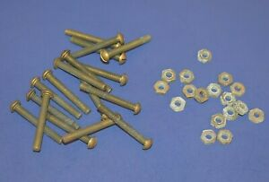 """17 Vintage 10-32 x 1 1/2"""" Slotted Round Head Solid Brass Machine Screws & Nuts"""