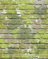 GREEN GRAFFITI CAMOUFLAGE WALL BRICK WALL UGEPA DESIGNER WALLPAPER L33504