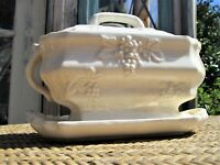 Vintage Ceramic White Embossed Grapes Covered Soup/Gravy Tureen