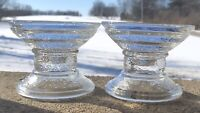 """Vintage Swirl Pattern Heavy Clear Glass Column Candle Holders (2) 4 1/2 X 3 1/2"""""""