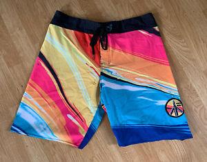 Pink Neon Billabong Butterfly Knife Bullets Stretch Hawaiian Surf Board Shorts