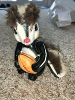"VINTAGE SKUNK WITH FOOTBALL FIGURINE ANTHROPOMORPHIC CERAMIC 6"" JAPAN FURRY"