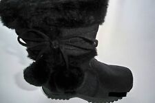 Team Honey-10 Girl Faux Wedge Mid Calf Black Leather Winter Boots Toddler Size 2