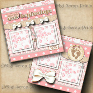 BABY GIRL~ 2 premade scrapbook pages layout print paper piecing DIGISCRAP #A0061