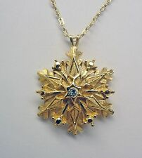 "Beautiful Gold Plated Snowflake Necklace Set With Sparkling Rhinestone 20""l."