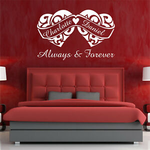 PERSONALISED QUOTE ALWAYS AND FOREVER WALL ART STICKER BEDROOM WEDDING VALENTINE